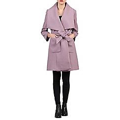 Jolie Moi - Dark mauve lapel wrap front belted coat