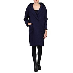 Jolie Moi - Navy hooded wool blend quilted inner coat
