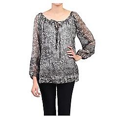 Jolie Moi - Dark grey crochet lace insert smock blouse