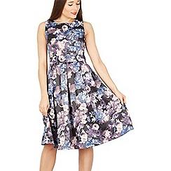 Izabel London - Black floral print fit & flare dress