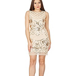 Tenki - Beige sequin beads embroidered lace dress