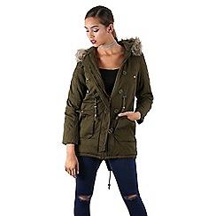 Be Jealous - Khaki faux fur hood parka jacket