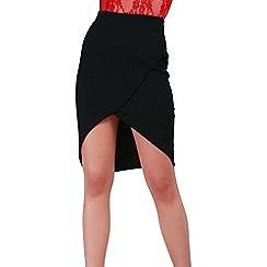 Be Jealous - Black asymmetric wrap skirt
