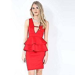 Be Jealous - Red peplum bodycon dress