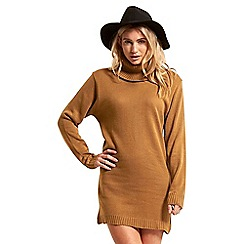 Be Jealous - Camel cowl neck knit dress