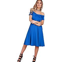 Be Jealous - Blue off shoulder midi skater dress