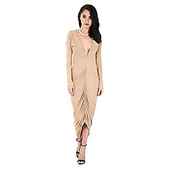 Be Jealous - Camel plunge ruched midi dress