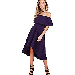 Be Jealous - Purple off shoulder high low dress