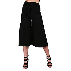 Be Jealous - Black wide leg belted cullottes