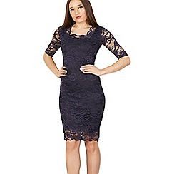 Feverfish - Navy lace scallop neckline dress