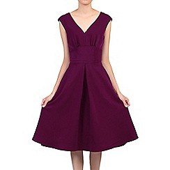 Jolie Moi - Purple sweetheart neck flared dress