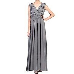 Jolie Moi - Dark grey plunging v-neck draped maxi dress