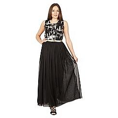 Tenki - Black sleeveless shiny party maxi dress