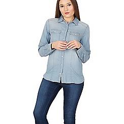Izabel London - Blue pocketed denim shirt top