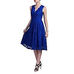 Jolie Moi - Royal v neck pleated lace prom dress