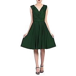 Jolie Moi - Dark green plunging neck pleated dress