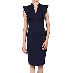 Jolie Moi - Navy ruffle shoulder detail bodycon dress