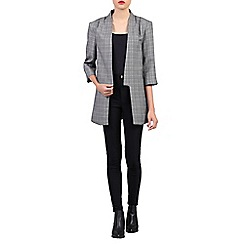Jolie Moi - Grey checked open front blazer