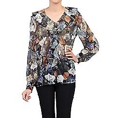 Jolie Moi - Khaki printed frilly front v neck blouse