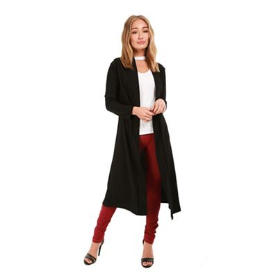 Be Jealous   Black Waterfall Open Trench Floaty Cardigan by Be Jealous