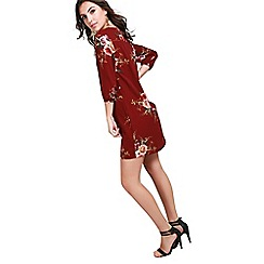 Be Jealous - Wine floral v neck dress