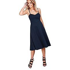 Be Jealous - Navy strappy padded midi dress
