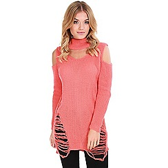 Be Jealous - Pink distressed knitted jumper dress