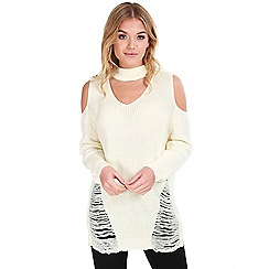 Be Jealous - Cream distressed knitted jumper dress