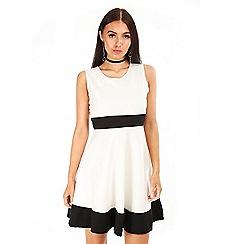 Be Jealous - Cream waist panel skater dress