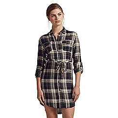 Apricot - Green check print tie shirt dress
