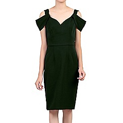 Jolie Moi - Green fold shoulder shift dress
