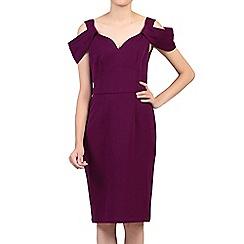 Jolie Moi - Dark purple fold shoulder shift dress