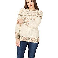 Izabel London - Beige round neck knitted jumper