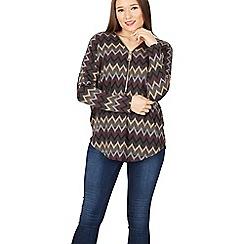 Izabel London - Multicoloured zig zag print zip top