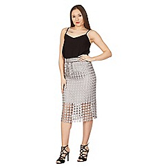 Tenki - Silver lace patterned floral midi skirt