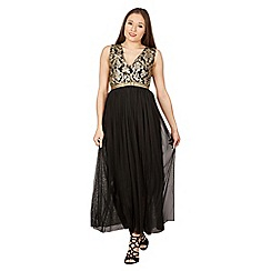 Tenki - Black v-neck shiny maxi dress
