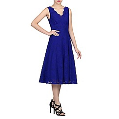 Jolie Moi - Blue scalloped v neck fit and flare lace dress