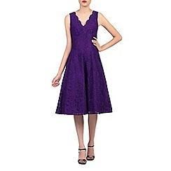Jolie Moi - Purple scalloped v neck fit & flare lace dress