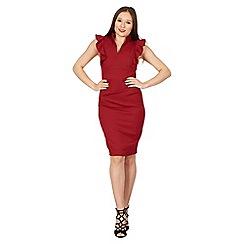 Jolie Moi - Dark red ruffle shoulder detail bodycon dress