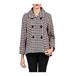 Jolie Moi - Pink houndstooth wool blended jacket