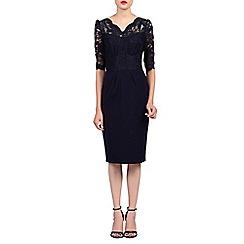 Jolie Moi - Navy v neck lace dress