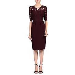 Jolie Moi - Dark red v neck lace dress