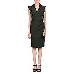 Jolie Moi - Khaki ruffle shoulder detail bodycon dress