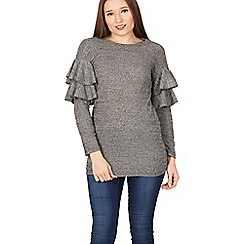 Izabel London - Grey round neck ruffle knitted pullover