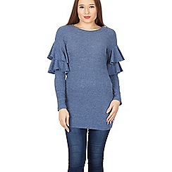 Izabel London - Blue round neck ruffle knitted pullover