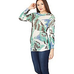 Izabel London - Multicoloured abstract print knit jumper