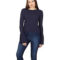 Izabel London - Navy bell sleeves knit jumper