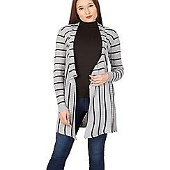 Izabel London - Grey stripe print knit cardigan