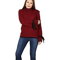 Izabel London - Wine round neck knit jumper