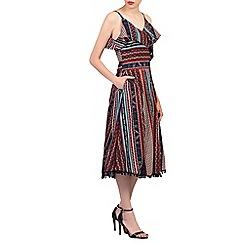 Jolie Moi - Dark red spaghetti straped frilly dress